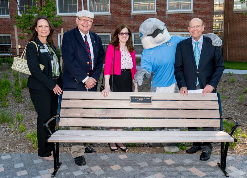 Pictured left to right: Cheryl Adolph, President William J. Fritz, Jennifer Lynch, Danny the Dolphin and Jay Chazanoff at inaugural bench dedication on 6/4/19.