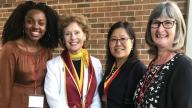 Mariama Djaura with Dr. Hendrix (President of Shepherd University, West Virginia), Winnie Brophy (PBD President), Dr. Hillary Bishop (faculty) and her student Mariama from Liverpool John Morres University, U.K. at 2019 Annual PBD Conference.