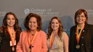 Honorary Speaker: Ambassador Maria Teresa Merino Villarán de Hart, Consul General of Peru, New York with CSI new student inductees and Anita Romano