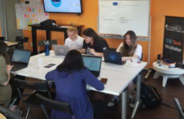 tech incubator students in classroom