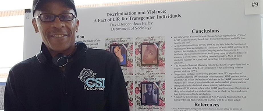 David Jordan doing a presentation on Discrimination and Violence: A fact of life for Transgender Individuals