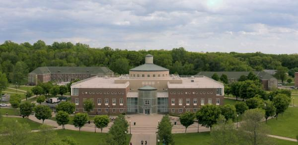 Aerial View of the Campus showing the Library in the distance