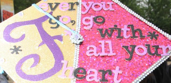 Commencement 2015 graduation cap with design