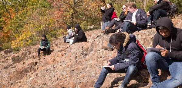 Group of students in the mountain