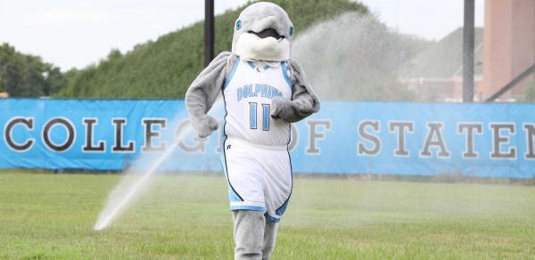 Danny the Dolphin on baseball field