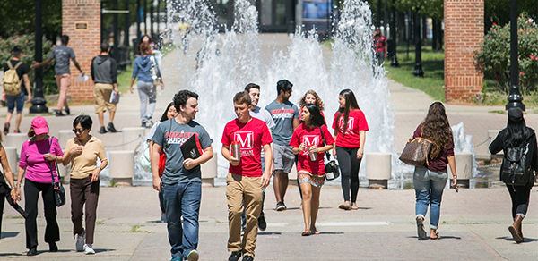 students by fountain