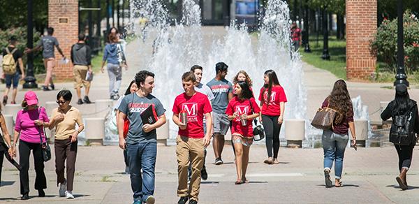 students on walkway