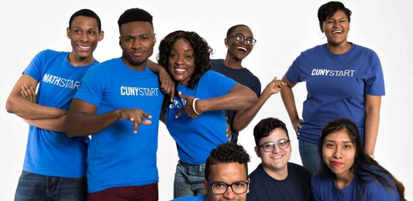 group of students in blue cunystart t-shirts