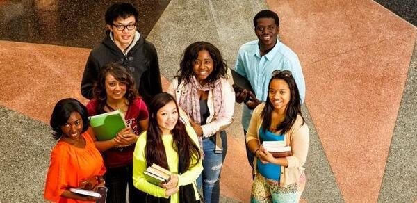 students in library rotunda