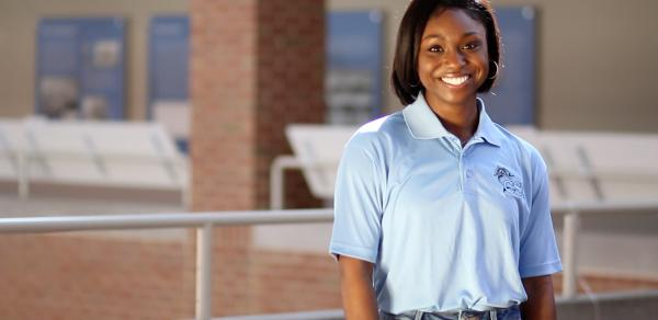virtual open houses, female student in blue shirt