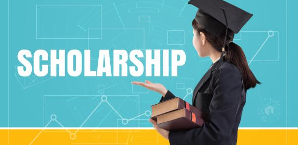 Scholarships Logo With Student