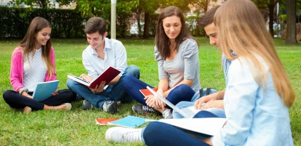 Group Of Students On The Grass With Books