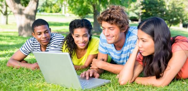 students with laptop