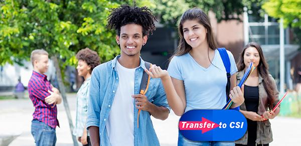 """Picture of students with a """"Transfer to CSI"""" graphic"""
