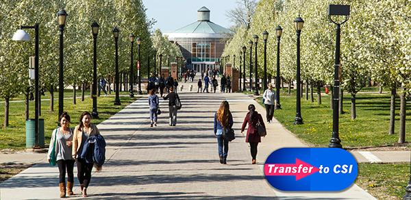 """View of alumni walk on campus with a """"Transfer to CSI"""" graphic"""