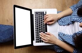 student at keyboard in distance learning course