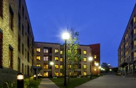 Picture of student housing in the evening
