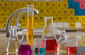 beakers of chemicals