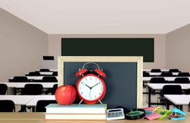 Classroom with alarm clock